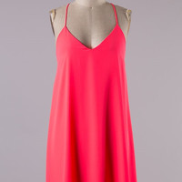 Neon Pink Shift Tank Dress
