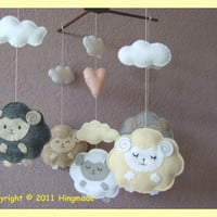 Hanging Mobile Sleepy sheep farm custom order by hingmade