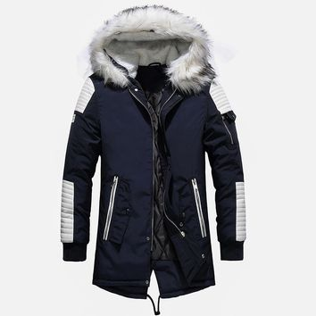 High Quality Thick Warm Mens Winter Jacket Coat Big Fur Hooded Street Style Long Men Parka Casual Slim Male Outwear