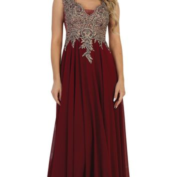 May Queen - Embellished Scalloped V-neck A-line Prom Dress