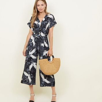 Navy Bird Print Wide Leg Jumpsuit | New Look