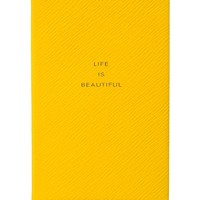 Smythson Life is Beautiful Notebook - Leather Notebook - ShopBAZAAR