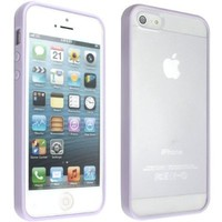 niceeshop(TM) Purple Bumper with Ultra Clear Hard Back Case Cover for the iPhone 5 5S + Screen Protector
