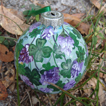 Hand Painted Glass Ornament with Four leaf clovers and purple flowers