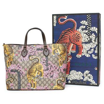 DCCKUG3 Gucci Bengal Tote Pink Shoulder Mixed Tiger Fabric leather Handbag Purse Bag New