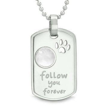 Follow You Forever Wolf Paw Amulet Dot Tag Energy White Simulated Cats Eye Pendant 22 inch Necklace