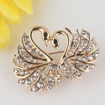 Brooches 18 Yellow Gold Plated Love Swarovski Austria Crystal