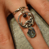 mermaid charm ring abalone mermaid pendant in boho gypsy hippie hipster beach resort and fantasy style