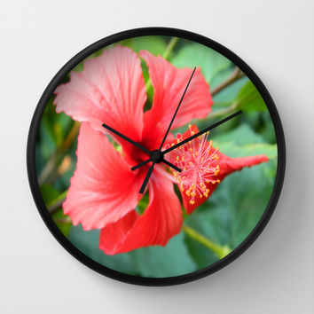Hibiscus Wall Clock by Kelli Schneider