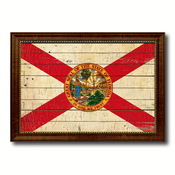Florida State Vintage Flag Canvas Print with Brown Picture Frame Home Decor Man Cave Wall Art Collectible Decoration Artwork Gifts