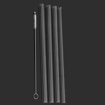 4x Reusable Thick Clear Glass Drinking Straws Wedding Birthday Party Canteen
