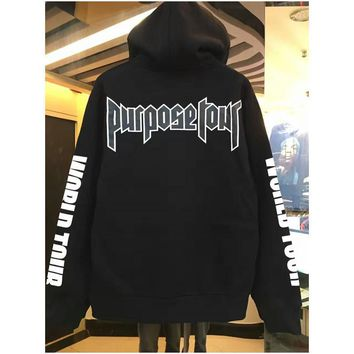 ca auguau Fashion Hip hop justin bieber purpose tour sweatshirt hoodies men women pullover sportswear hoodies brand clothing high quality