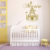 Wall Decals Personalized Girl Name Chandelier Birds Vinyl Sticker Decal Custom Name Children Baby Decor Nursery NS1049