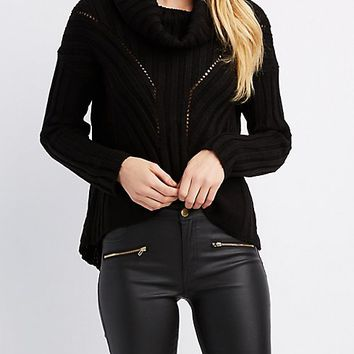 Ribbed Cowl Neck Pullover Sweater | Charlotte Russe