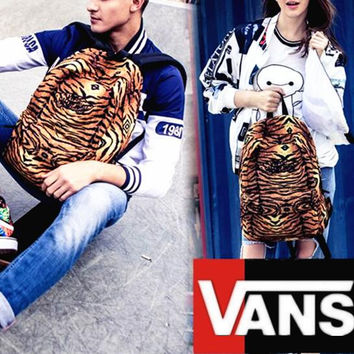 """""""Vans""""Fashion Personality printing large capacity backpack bag leisure travel boom Yellow tiger stripes(7 style)"""