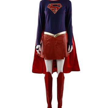 Superhero Supergirl Kara Zor-El Cosplay Costume Full Set Custom Made