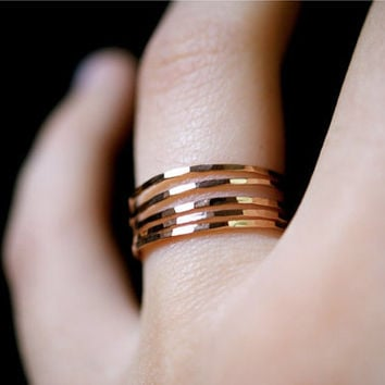 NEW Pink Gold Filled stacking rings -- Ultra Thin set of 5