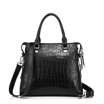 Genuine Leather Luxury Alligator Embossed Shoulder Bag