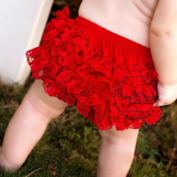 Red Lace Baby Bum Ruffle Diaper Cover Bloomer | Ruffle Shorts | Baby Girl Cotton Underwear Photo Prop Birthday Pink Black White Hot Pants
