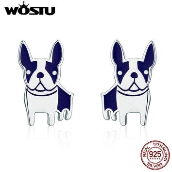 WOSTU HOT SALE Real 925 Sterling Silver French Bulldog Stud Earrings for Women Cute Animal Silver Party Jewelry Earring DXE328