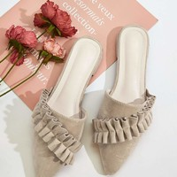 Ruffle Decor Point Toe Mules