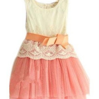 Girls Embroidered Lace gauze bow vest tutu dress