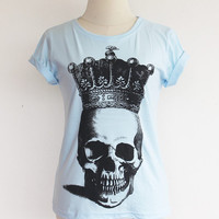 Women  Crown Skull T-shirt  Hand Printed Blue Tshirt cotton 100% - Available In Sizes S,M,L,XL.(Available 4 Colors)