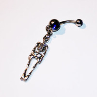 Skeleton Belly Button Ring, Navel Ring, Skeleton Jewelry, Belly Piercing,