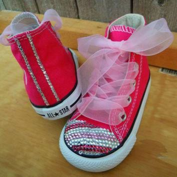 LMFUG7 Pink Striped Bling Converse Chuck Taylors by MySweetBirdBoutique