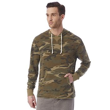 Alternative Apparel - School Yard Printed Burnout French Terry Camouflage Green Hoodie