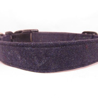 Dog Collar - MADE to ORDER GLITTER Charcoal Grey Collar - Adjustable Cotton Dog Collar