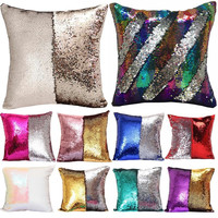 Sequin Mermaid Throw Pillow Cover