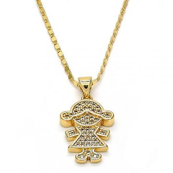 Gold Layered Fancy Necklace, Little Girl Design, with Micro Pave, Golden Tone