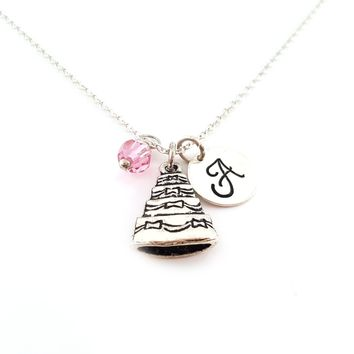 Wedding Cake Charm Personalized Initial Sterling Silver Necklace