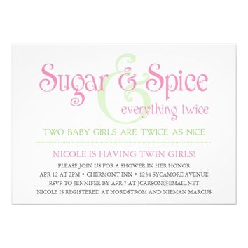 Custom Sugar & Spice Twins Baby Shower Invitation