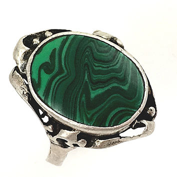Malachite Ring Sterling Silver Southwestern