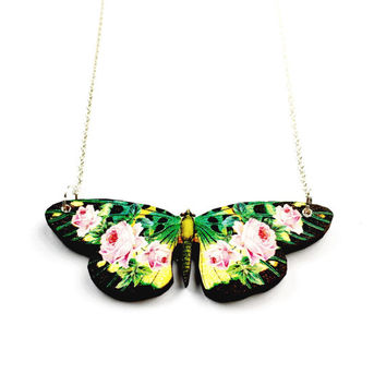 Green Butterfly Necklace - Butterfly Jewelry, Butterfly Jewellery, Lasercut Butterfly Necklace, Wood Butterfly