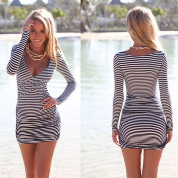 Women Summer Striped Bodycon Bandage Slim Evening Party Cocktail Mini Dress