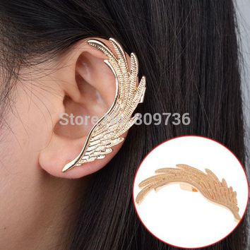 Hot Fashion Single Girl ear cuff earrings 1PC Angel Wings feather golden ear clips for women left ear Punk Jewelry Gift