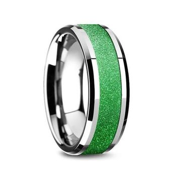 Mens Tungsten Wedding Ring Sparkling Green Inlay Beveled Polished Finish - 8mm