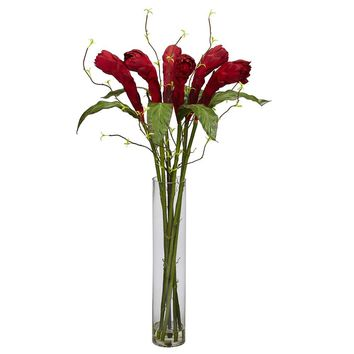 Silk Flowers -Ginger With Cylinder Vase Flower Arrangement Artificial Plant