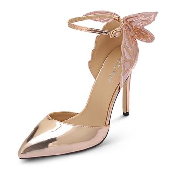 Pointed Toe Butterfly Stiletto Heel Women Sandals