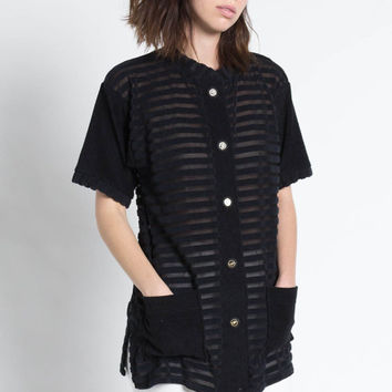 Vintage 80s Black Terry Cloth Sheer Striped Oversized Shirt | M