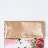 ANTHOM // Red Rose Metallic Leather Floral Clutch