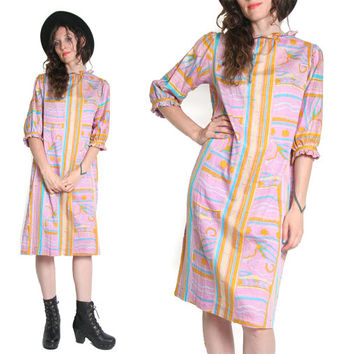 Groovy 60s Dress - Frilly Collar - Psychedelic Print - Pastel Dress - Flower Child - Mod Dress - Twiggy - Midi Dress - Shift Dress