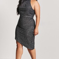 Plus Size Metallic High-Neck Dress