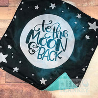 "To The Moon & Back Baby Blanket • Minky • 30 x 30"" • Pregnancy • Gift • Shower • 3-4 Week Turnaround • Moon • Stars • Galaxy"