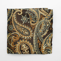 Golden Brown Paisley Pocket Square