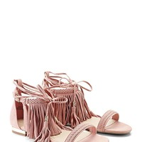 Genuine Suede Lace-Up Sandals