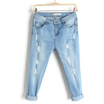 Summer Rinsed Denim Slim Stretch Jeans Capri Denim Skinny Pants [4920635332]